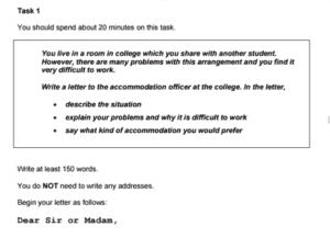 IELTS General Writing Task 1 Sample Task